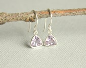 Amethyst Earrings,Bezel,Petite Pink/Light Purple,Sterling Wrapped, Mauve,Orchid,Dangle