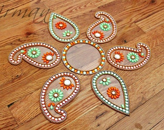 Indian wedding paisely table decor - Diwali Rangoli- Keri and Pan in colors Green Orange
