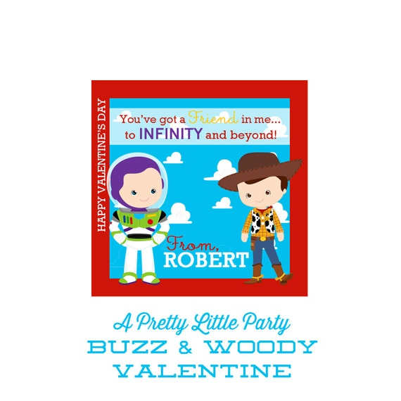 Buzz and Woody Valentines - Customized Toy Story Valentine - Party Supplies