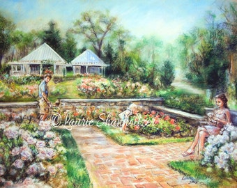 "landscape - ORIGINAL pastel painting -floral  family ""Reading in the Rose Garden""  Laurie Shanholtzer 17 x 23"