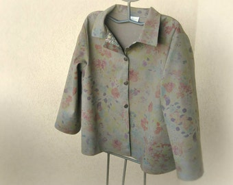 Summer cotton jacket in cotton twill, with details in original Liberty of London - floral design on khaki brown background - ooak