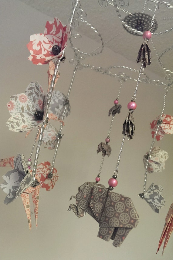 baby girl mobile with origami elephants giraffes and cherry blossoms flower mobile baby. Black Bedroom Furniture Sets. Home Design Ideas