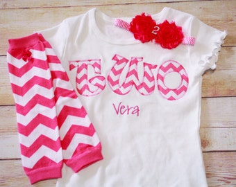 Girls TWO Shirt / Birthday TWO Shirt / 2nd Birthday Headband / Two Year Old Birthday Shirt / Girls 2 Shirt / Second Birthday Outfit
