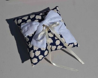 White Eyelet Bow Wedding Ring Bearer pillow, navy blue floral rose fabric ivory satin bow ties, garden military Shabby Chic romantic
