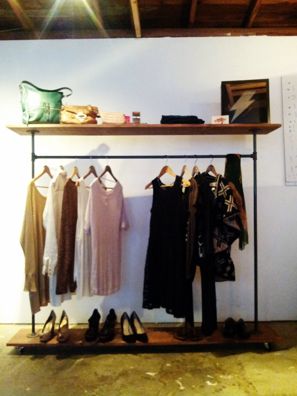 top shelf garment rack industrial steel by pennylanewhitneyj. Black Bedroom Furniture Sets. Home Design Ideas
