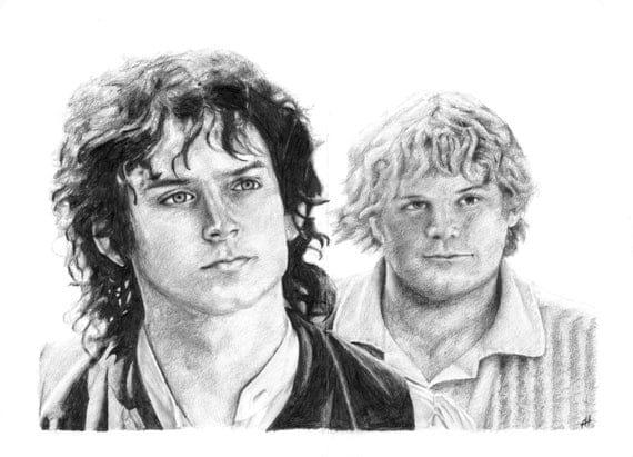 ORIGINAL FRODO and SAM Lord of the Rings pencil drawing