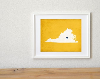 Virginia State Custom Art Silhouette Personalized Map Art 8x10 Print
