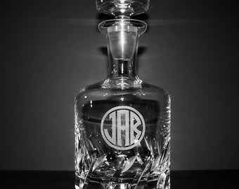 Engraved Crystal Decanter w/ Initials - Groomsmen Gifts