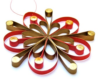 Christmas decoration - flower,  eco-friendly, quilled paper.