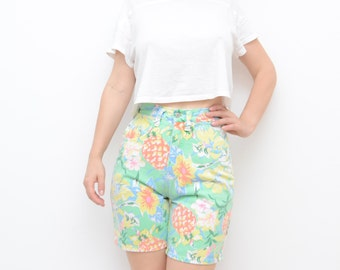 Vintage green mint women floral tropical denim high waist shorts / fruit pineapple XS S