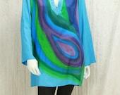 Hand painted boho tunic long sleeve Bohemian clothing Peacock mini dress 90s Vintage Colorful Boho top M L Summer tunics Hippie clothes