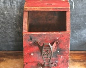 1940s Handmade Shoe Shine Box Red Rustic Distressed