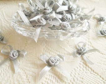 Silver Grey Rose Ribbon, elegant bow, grey rose, 50 pcs. rose applique, fabric rose, ribbon, fabric bow, wedding, party, gift for her, party