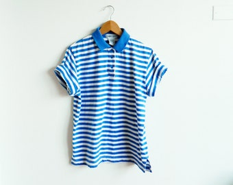 Vintage Blue Striped Tee / Soft Collared Blouse in Bright Stripes / Vintage Striped Top / 80s Colorful Stripes