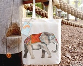 Elephant Tote Bag, Ethically Produced Reusable Shopper Bag, Cotton Tote, Shopping Bag, Eco Tote Bag