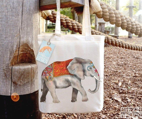 Elephant Tote Bag, Ethically Produced Reusable Shopper Bag, Cotton Tote, Shopping Bag, Eco Tote Bag