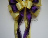 Purple Yellow Wreath Bow Yellow Purple Wedding Pew Bow Church aisle Wedding Pew Bow Wedding Chair Bow Basket Gifts Bow