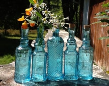 5 Blue Bottles 6.5 Inch Tall 4 oz 120ml 6.5 Inches Tall Corks Glass Bottle Collection Vintage Wedding Decor Blue Vases Bud Vases