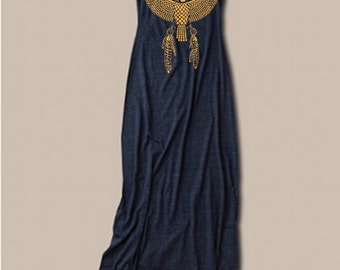 Womens Boho EGYPTIAN EAGLE  Bohemian Tank Top Dress screenprint maxi beach coverup S M L XL More colors