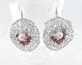 Crochet earrings, Wire crochet earrings, Geometric earrings - Silver circle earrings- Boho earrings