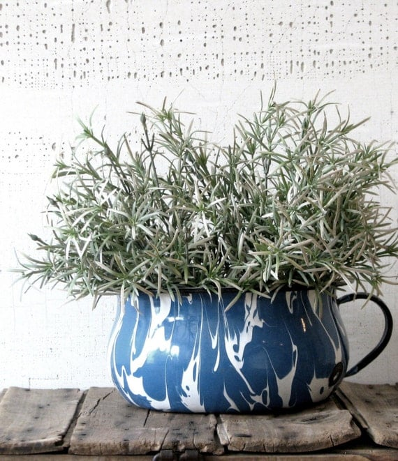 enameled blue and white swirled pot  - rustic farmhouse style planter container