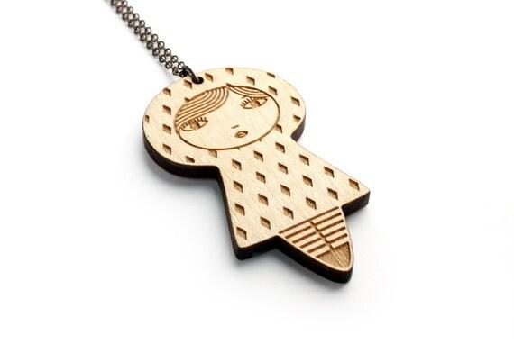 Doll pendant with diamonds pattern - lasercut maple wood - wooden matriochka necklace - kawaii kokeshi jewelry - graphic cute jewellery