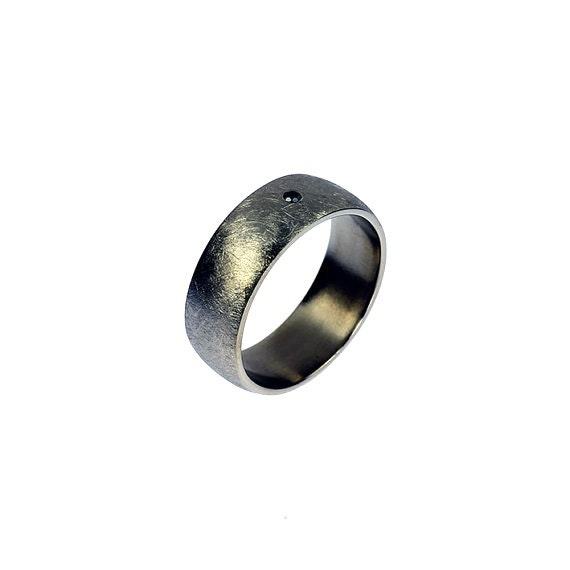 Titanium wedding band, black diamond ring, mens wedding ring, modern