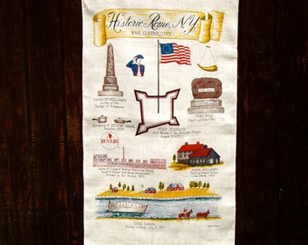 Historic Rome New York Souvenir The Copper City Patriotic Ktichen Tea Towel Vintage Hand Printed Linen unused