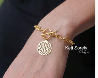 Monogram Bracelet with Large Chain, Toggle Bracelet (Order Your Initials) - 14K Gold Filled, Sterling Silver, Yellow Gold Or Rose Gold