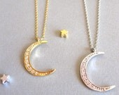 Crescent Moon Necklace Moon Layer Necklace Moon Necklace Silver / Gold Boho Moon Necklace Gold Moon Necklace Moon Jewelry Long Moon Necklace