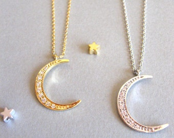Crescent Moon Necklace, Gold or Silver Moon Necklace, Romantic Jewelry Gift, Gold Moon Necklace, Moon Pendant Necklace Long Moon Necklace