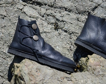 Black Leather Booties - Leather Boots for Men - Leather Boots for Women - Custom Moccasin Boots - All Leather, Extremely Durable