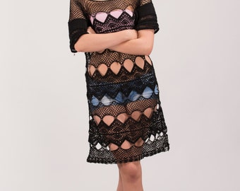 SALE Hand crochet black cotton blouse,Festival dress,Cotton tunic dress,Beach dress,Bohemian blouse,Lace tunic top,Hand-crochet top