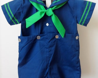 Vintage Navy Baby Boy Sailor Suit with Green-Sizes 9, 12, and 18 months- New, never worn
