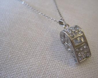 Whistle Silver Rhinestone Necklace- Rhinestone Whistle - Silver Whistle - Whistle Necklace