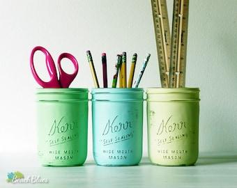 Painted Mason Jars Home Dorm Decor Pencil Holder Vase Centerpiece Green Aqua Yellow