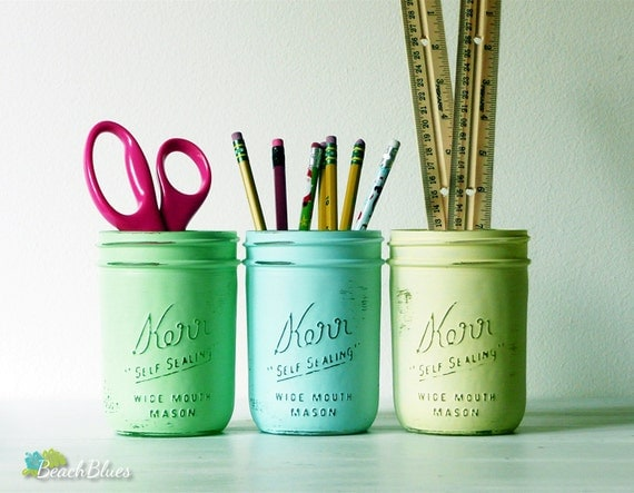Pencil Holder / Office Decor / Dorm / Desk Organization / Painted Mason Jars / Summer home decor / Green Aqua Yellow / set of 3 wide mouth