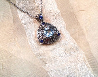 Swiss Blue Topaz Necklace November Birthstone Handmade Jewellery by NorthCoastCottage Jewelry Design & Vintage Treasures
