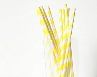 Yellow Striped Paper Straws (25) Yellow Paper Straws-Wedding Straws-Party Straws-Paper Straws- Yellow Decor