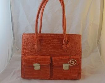Orange Croc-Printed Handbag