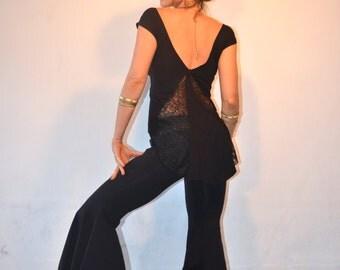 Sati top ~ Yoga top ~ Black Lace top ~ Lace Tank top ~  low back