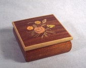 Wood Jewelry Box Floral Design Wooden Inlaid Flower Inlay