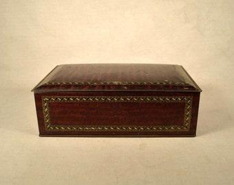 Brown Tin Box Metal Mahogany Wood Lithograph Package Corp NY