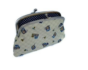 Frame purse with divider - cream owl coin purse pouch with snap clasp and 2 sections in navy polka dots, cute kawaii wallet