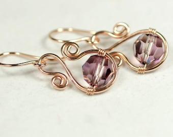 Rose Gold Purple Swarovski Crystal Earrings Wire Wrapped Jewelry Handmade Swarovski Crystal Jewelry Rose Gold Jewelry Pink Gold Earrings