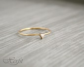 14k triangle Diamond ring - Diamond engagement ring - wedding ring, 14k Gold, Handmade