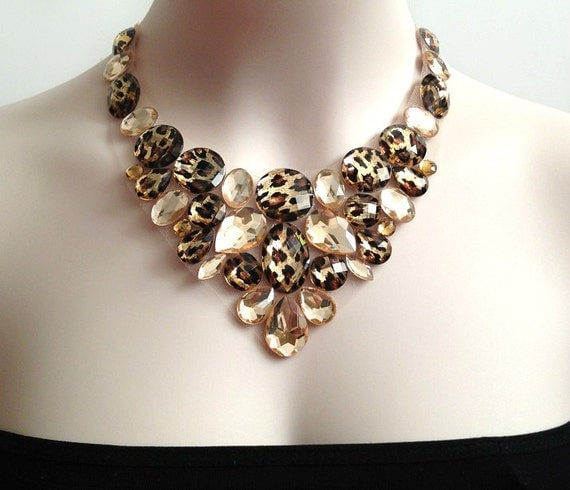 leopard sexy necklace, rhinestone bib leopard and honey wedding, bridesmaids, prom, holiday necklace, gift or for you