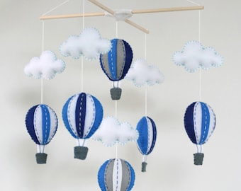 Navy and white hot air balloons baby mobile - baby mobile - Navy and white
