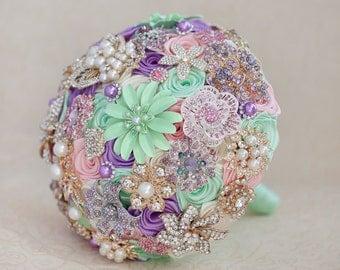 Brooch bouquet. Mint, Pink, Lilac and Ivory wedding brooch bouquet Quinceanera keepsake bouquet