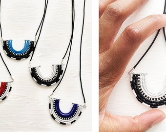 Masai Inspired Tribal Beaded Pendant Necklace in Black and White